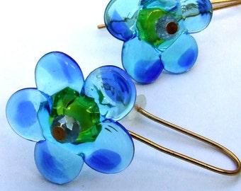 Lampwork Flower Turquoise Earrings, Geometric Flower Earrings, Glass Bead Jewelry, Ready to Ship !