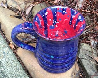 Patriotic Mug, pottery, mug, cup, handthrown, pottery mug, clay mug, handthrown mug, coffee mug, red white and blue