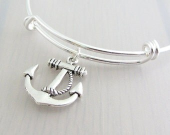 Silver Anchor Charm Bangle, Anchor Charm Bracelet, Adjustable Charm Bangle, Silver Nautical Bangle, Stackable Bracelet