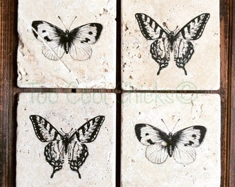 Butterflies Tumbled Marble Coasters