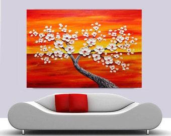 Oil painting white flower Blooming Tree Heavy Palette.