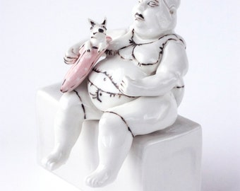 Lady with a dog in her purse, Porcelain figurine,Figurines collection
