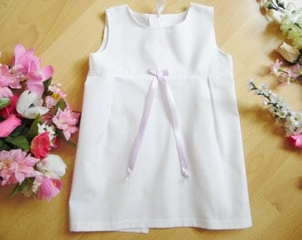 short white baptismal/christening dress, one size, 100% cotton