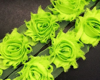 Petite Shabby Flower - LIME GREEN - Shabby Rosettes - Mini Shabby Flower - Shabby Flower Trim - DIY Flowers