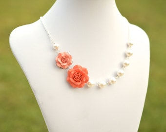 Double Rose Asymmetrical Necklace in Light Coral and Coral Rose. FREE EARRINGS