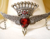 Garnet Red Heart Necklace, Crown, Silver Wings, Valentines Day Gift, Game of Thrones, Harley Davidson, Harley Quinn, Queen, Sacred Heart