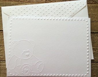 Teddy Bear Cards, White Embossed Note Card, Greeting Card, Stationery Set, Baby Note Card, Kid Cards, Blank Note Cards