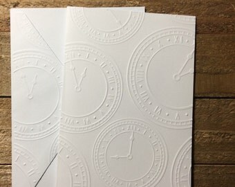Clock Cards, New Year's Card Set, White Embossed Note Cards, Stationary Set, Greeting Cards, Masculine Note Cards,  Time Note Cards