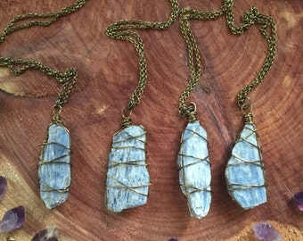 KYANITE - wire wrapped simple mineral necklace