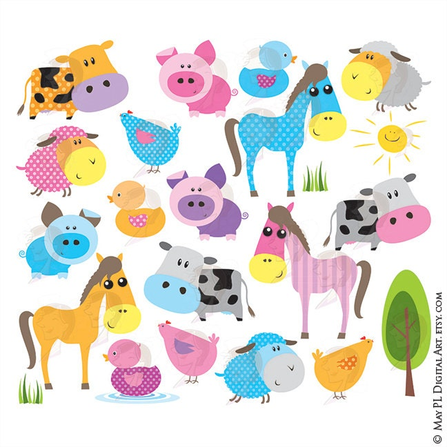 Baby Farm Animals Clipart Cute Farm Animal Bright Colors Horse