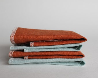 Linen Facecloth Set of 4 in Rust and Blue, Exfoliation Facecloths, Natural Beauty