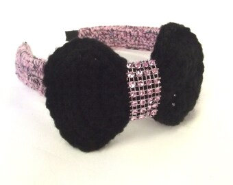 Pink Crochet Headband - Black Bow Hair Accessory - Rock a Billy Hair Band
