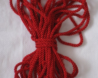 Red Twisted Cord Vintage Trim - 8-1/2 Yards Long - Sewing, Home Decor, Tie Backs, Crafting - NOS Supplies