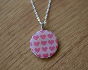 SALE - Mother's Day. Necklace Pendant. Pink Hearts Round Paper Pendant on sterling silver chain