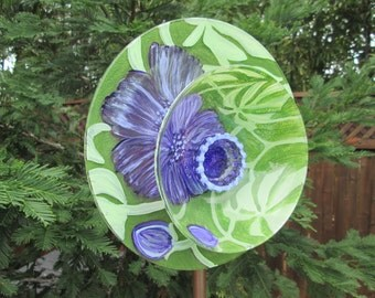 Glass Plate Flower Garden Art Hand Painted - Garden Decor, Glass Flower Garden Sculpture, Outdoor Decor, Yard Art, Garden Gift
