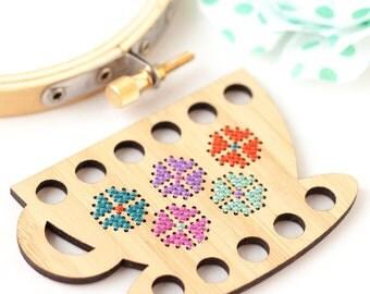 Teacup Embroidery Floss Organizer DIY Kit, Thread Minder, Floss Holder, Wood Floss Keep, Embroidery Tool, Modern Cross Stitch Organizer
