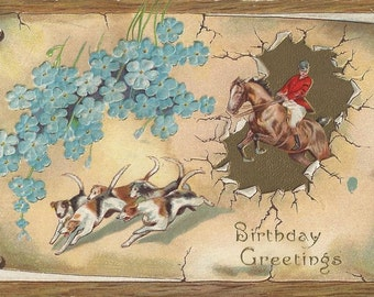 Past the Periwinkles - Antique 1910s Embossed Foxhunt Birthday Greetings Postcard
