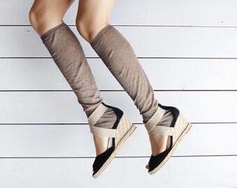 Vintage black suede leather canvas summer espadrille high wedge heel shoes sandals 9.5 40