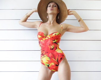 French vintage bright red yellow fruit floral print low back mid high leg cut one piece swimsuit S