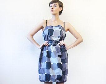 Vintage sample MARIMEKKO black grey white geometric circle print cotton tunic belted mini bubble dress