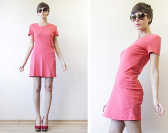 JIL SANDER Vintage coral red pink short sleeve asymmetric gathered tight fitted stretchy mini dress S