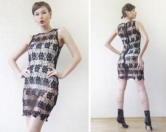 Vintage black see through lace sleeveless tunic dress XS