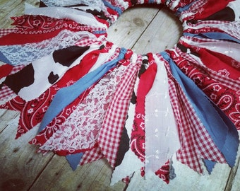 Made to Order - Infant to Child Size Cowgirl Scrap Tutu - Red Bandana, Gingham, Denim, Lace, Cow Print