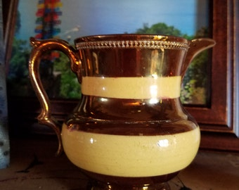 Vintage English Hand-Painted Copper Lustre Pitcher Creamer Jug with Raised Relief Trim