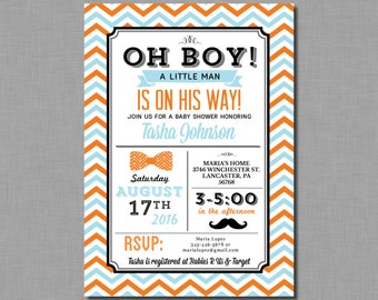 Little Man Shower Invitation Baby Boy mustache orange blue Mason BD04 Digital or Printed