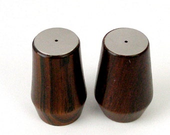 "Small Vintage Salt and Pepper Set Danish Rosewood Stainless Steel Danish Modern 2 Tall"" Scandinavian MCM Very Good Condition"