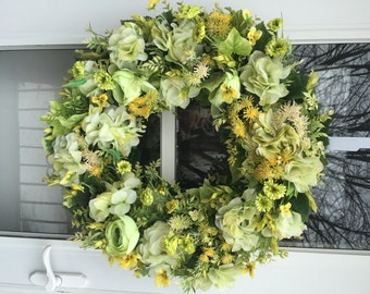 Bright Green Hydrangea with Yellow Pansies and Lush Greens Wreath