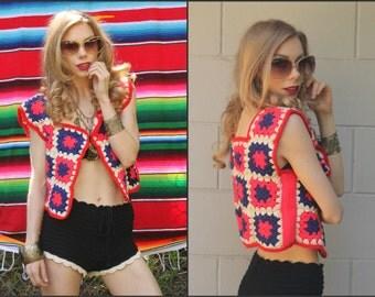 Vintage Vtg 70s God's eye  Vest Crochet Coachella Top Hippie Boho XS S M