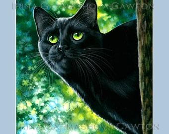Black Cat Print Spring by Irina Garmashova