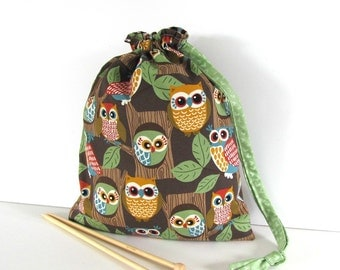 Socks Knitting Bag, Drawstring Project Bag - Woodland Owls
