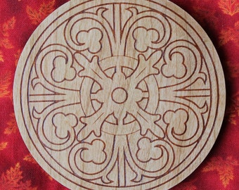Floral design laser engraved Cherry wood coasters - set of 4