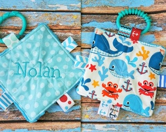 Baby Boy Toys, SET of  2, nautical theme, Crinkle toys, teething links included, 5 inch. This item can be personalized.