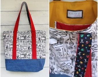 Sewing Love Crafters Tote Bag Upcycled Denim Purse Handmade Unique