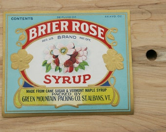 Vintage Fine VERMONT Fancy Sugar & Maple Syrup Tin Can Paper Label Green Mountain Packing Co. St Albans, Vermont Very Rare Find