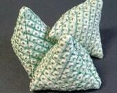 Set of THREE sewing pattern weights made with vintage kimono silk -  green and white shibori