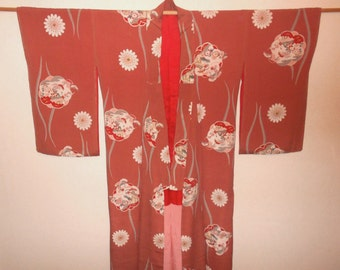 Antique kimono - Old house with flower, Prewar