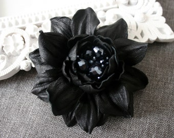 Black Leather Rose Flower Brooch