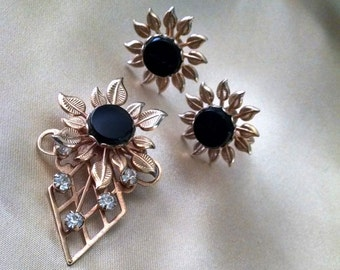 Brooch Earring Set Vintage GP Onyx with Clear Crystals Floral Design Screw Back Earrings Lovely Elegant