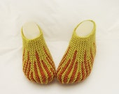 Handknitted Women Slippers, Short Socks, Striped Slippers, Home Slippers, Slippers in Olive Green and Terracotta