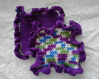 Dishcloths Set of Two Ruffles in Purple and Spring Colors with Loop for Hanging Crochet Dish Cloths