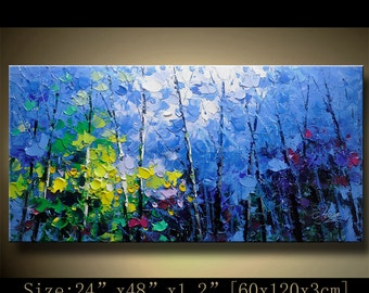 contemporary wall art, Palette Knife Painting,colorful tree painting,wall decor , Home Decor,Acrylic Textured Painting ON Canvas by Chen h76
