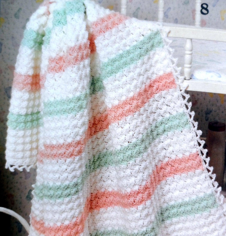 Baby Blanket Crochet Pattern Crib Afghan Picots Amp Stripes