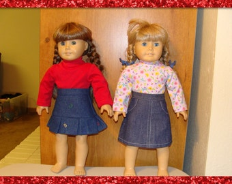 "Skirt & Top set fits the 18"" American Girl Doll Denmi  Skirt  and Turtle neck Top"