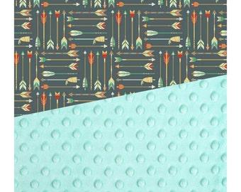 Baby Blanket Blue Arrow Carseat Blanket Crib Blanket Girl Feather Minky Blanket