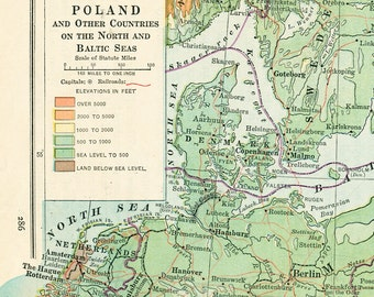 Baltic states map  Etsy