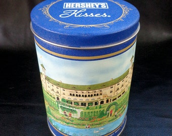 Hershey's kisses tin, vintage collectible advertising commemorative candy tin, blue food canister, Hotel Hershey illustration, 90s